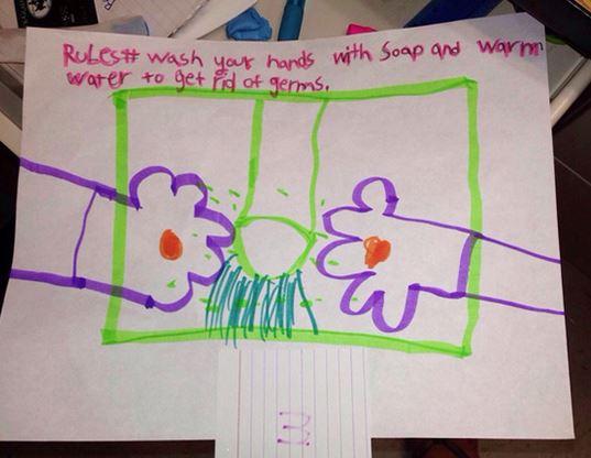 extraños dibujos de niños. Recordatorio de lavarse las manos