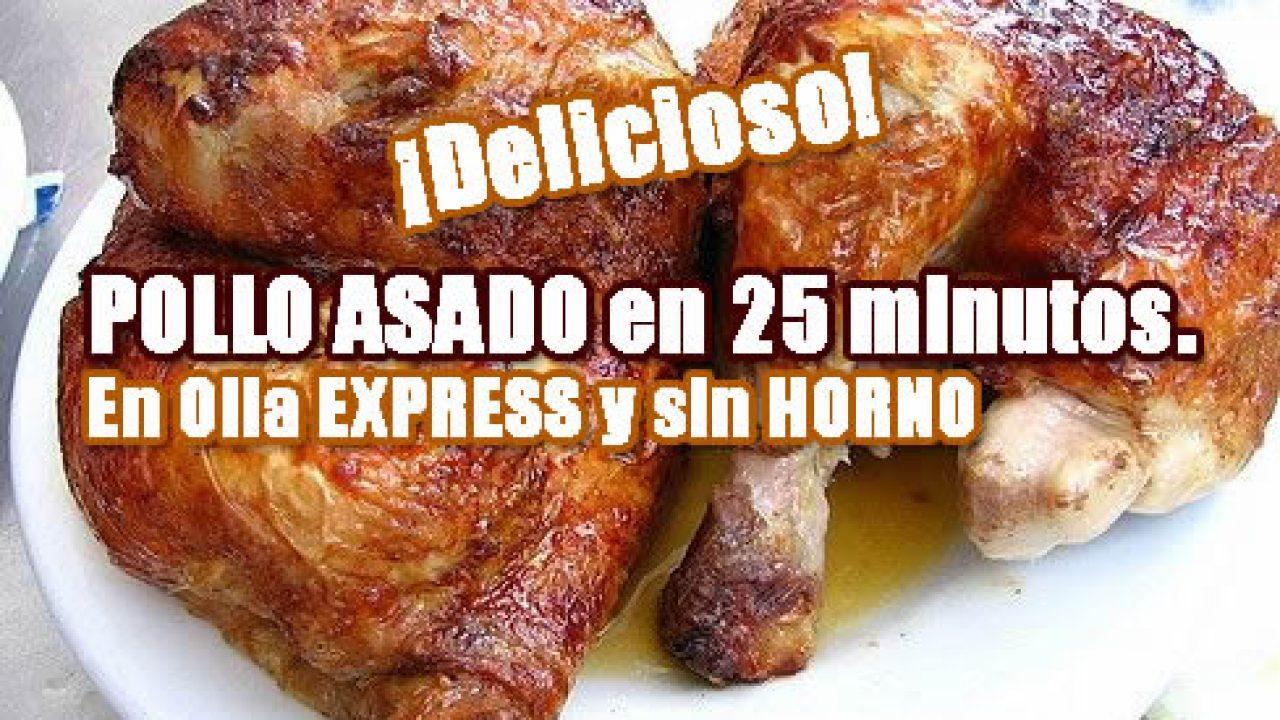 Pollo asado en olla Express. Receta de cocina rápida y sencilla.