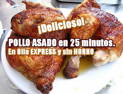 Pollo asado en olla express receta de cocina r pida y for Cocinar un pollo entero
