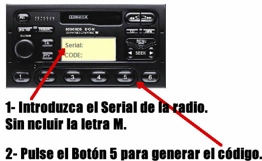 codigo radio ford