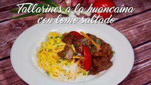 Tallarines a la Huancaina con Lomo Fino. Recetas de cocina peruana.