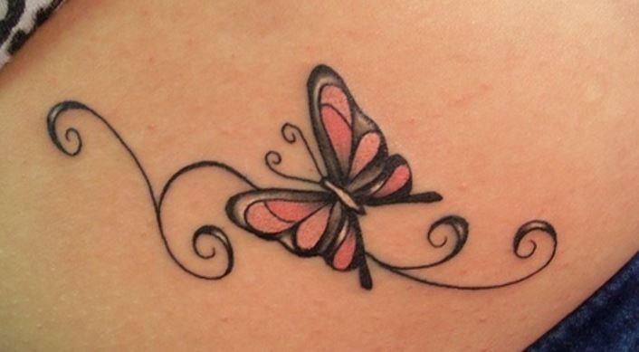 tatuajes mujeres pequeños mariposa color
