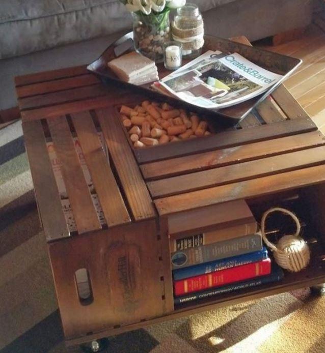 Ideas para decorar reciclando Mesa con cajas de madera