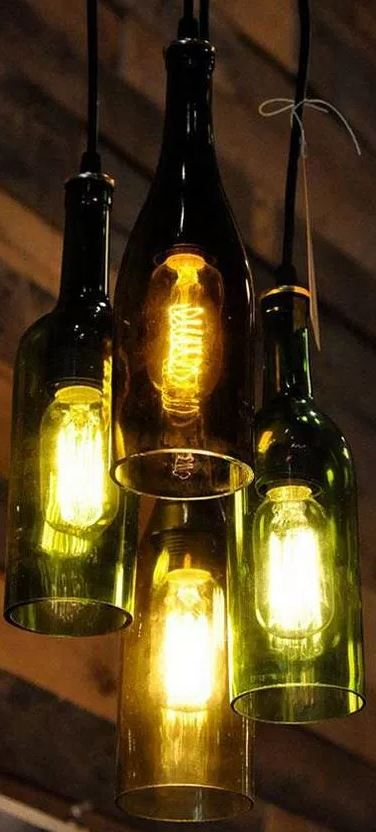 ideas para decorar reciclando Lamparas con botellas recicladas
