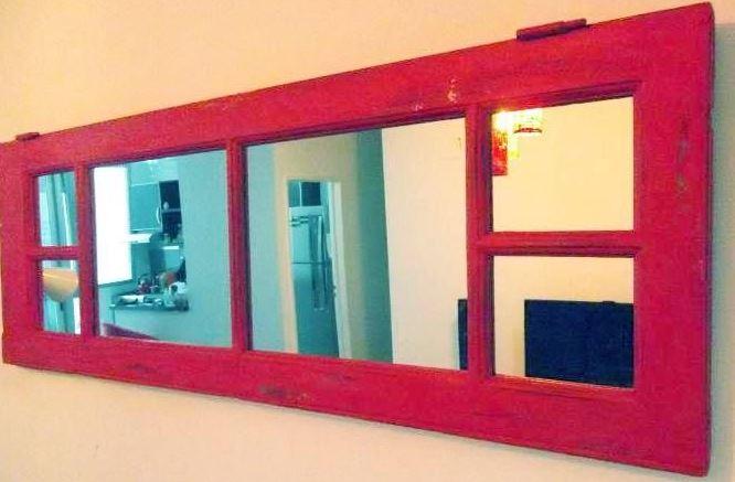Ideas para decorar reciclando. Puertas reciclada en espejo.