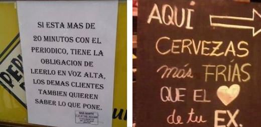 imagenes de carteles graciosos en bares