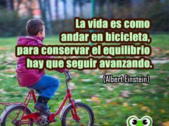 la vida es como montar en bicicleta. Cita de Albert Einstein