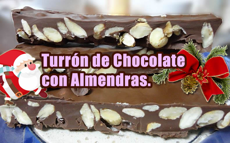 turron de chocolate con almendras