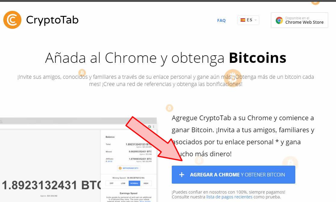 Página de descarga de la extensión para Chrome de CryptoTab.