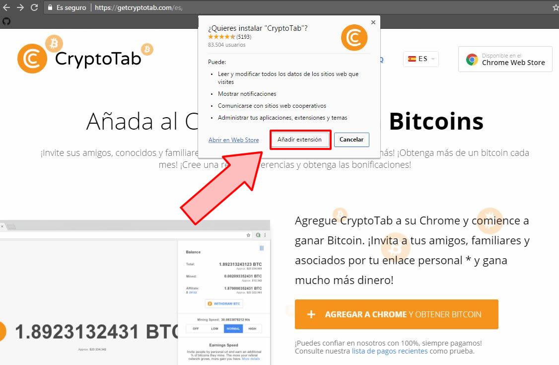 Aceptamos la instalación de la extensión CryptoTab.