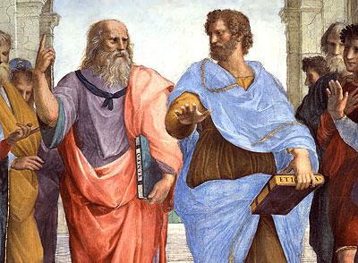 """Aristóteles y Platón en """"la escuela de Atenas""""(1511) de Rafael"""