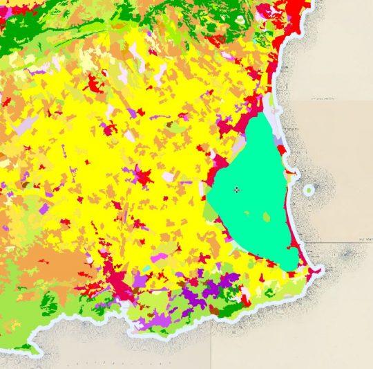 Ocupación del suelo en el Mar Menor. Fuente Iberpix