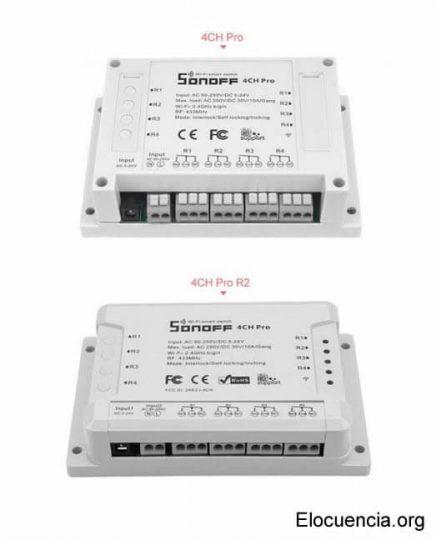 Modelos Sonoff 4CH PRO y PRO R2