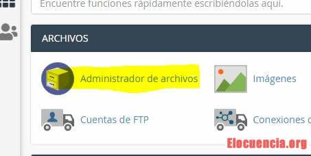 Entrar al administrador de archivos de CPanel